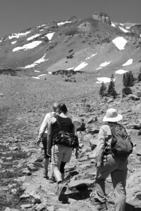 hikers and Mt. Shasta