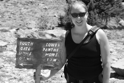 Susie and the trail marker
