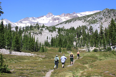 Hiking below Mt. Shasta from Panther Meadows Trail