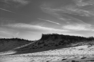 19Feb2012.  Parker River NWR.  View of beach to sand dunes boundary.  Taken with Nikon D90 and Nikkor 24-70 mm lens.  Processed with Adobe Photoshop CS5, Photomatix Pro 4.1, and Nik Silver Efex Pro 2.