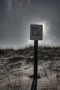 "19Feb2012.  Parker River NWR.  View of beach to sand dunes boundary and ""Area Closed"" sign.  Taken with Nikon D90 and Nikkor 24-70 mm lens.  Processed with Adobe Photoshop CS5, Photomatix Pro 4.1, and Nik Silver Efex Pro 2."