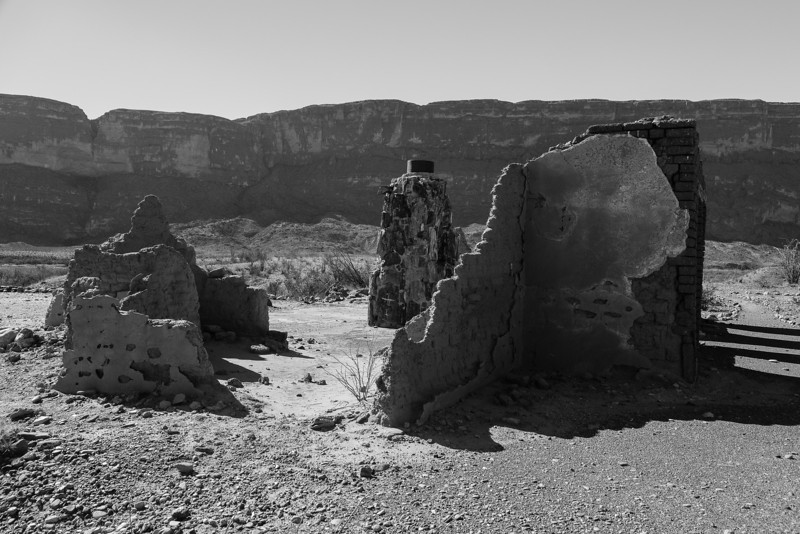 Ruin with Chimney BW