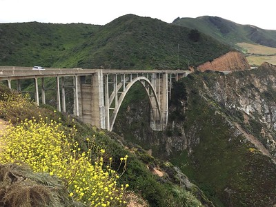 The next day it was a trip down the coast to Big Sur hwy 1, now re-opened at least as far as Big Sir. Bixby Bridge the classic tourist spot.