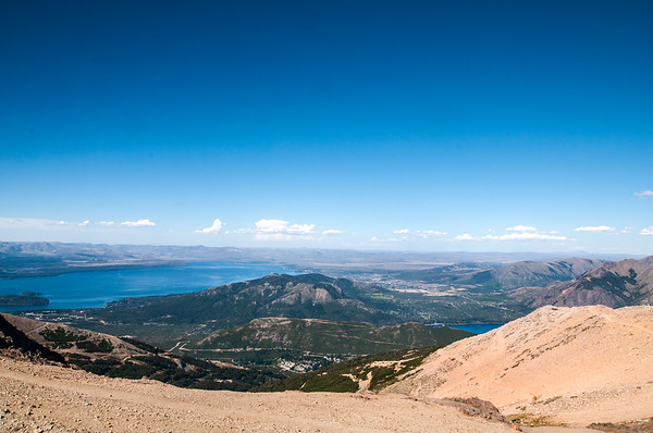 Summit at Cerro Catedral, overlooking the town of Bariloche on Nahuel Huapi Lake