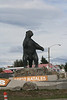 "Puerto Natales, Chile. 2009. Statue of ""milodon"" or giant sloth; an extinct mammal formerly found in the area. Kind of the city mascot."