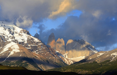The three towers of Torres del Paine, at sunrise.
