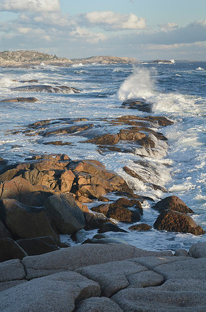 The wind was whipping on our arrival day – and many days of our trip. This is the surf up the coast a few hundred yards from Peggy's Cove.