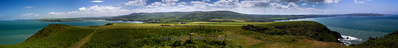 270 degree panoramic from Dinas Head looking towards the Preselli Mountain range.