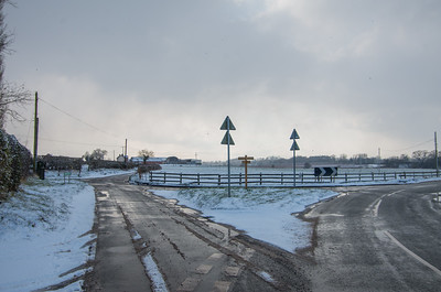 Snowy crossroads