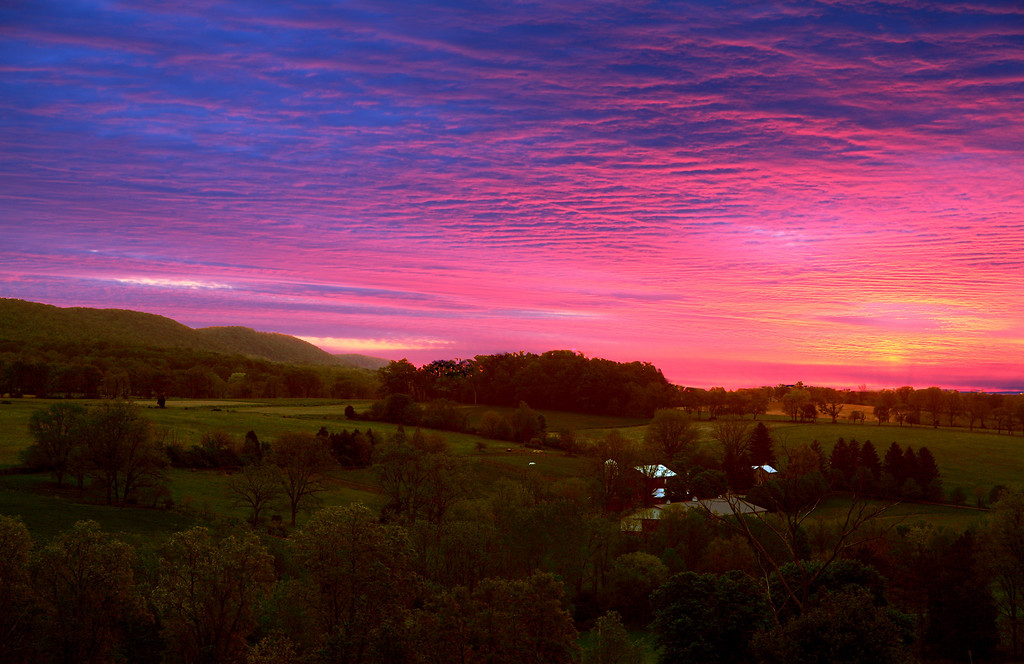 Crazy pink sunrise over Linden Hall, PA
