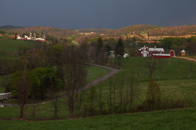 Farms in the valley between Mt. Nittany and Tussey Mtn., looking toward Linden Hall, PA.