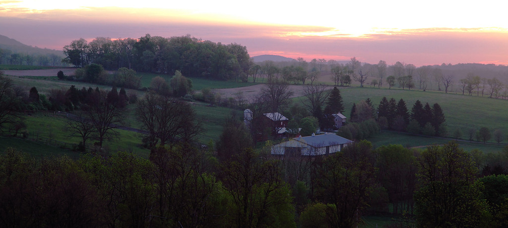 Salmon sunrise over farms near Linden Hall, PA