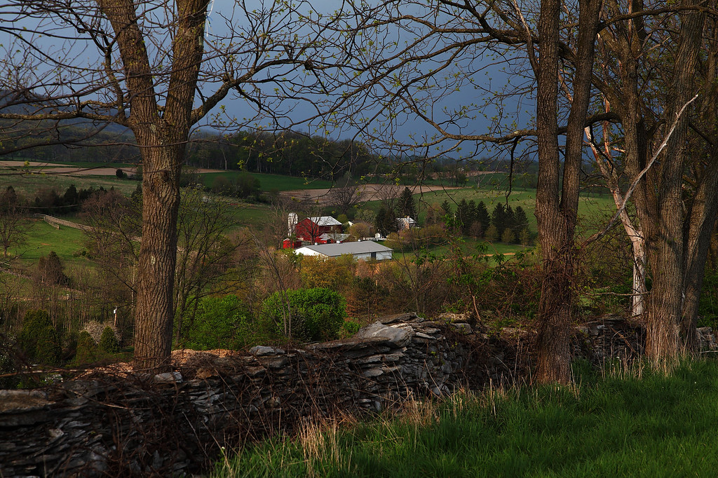 View over an old stone wall, looking toward Linden Hall, PA
