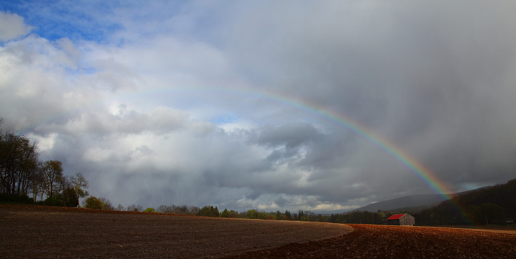 Late afternoon rainbow after an early spring thunderstorm, Linden Hall, PA.