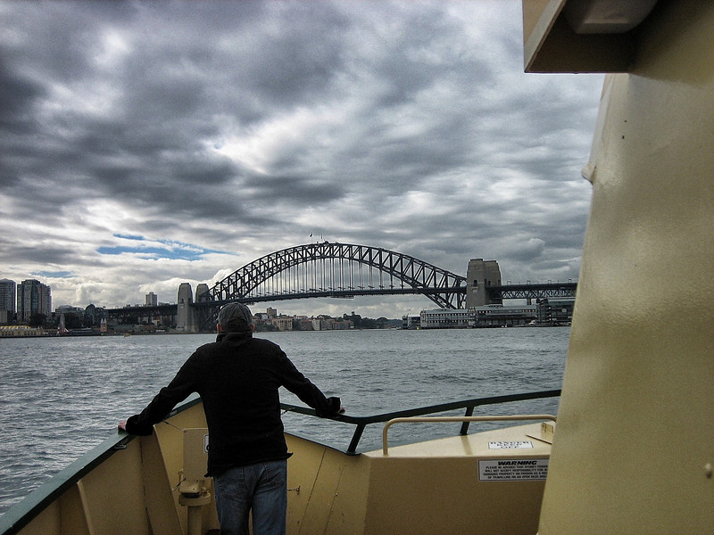 In Sydney Harbor, on ferry