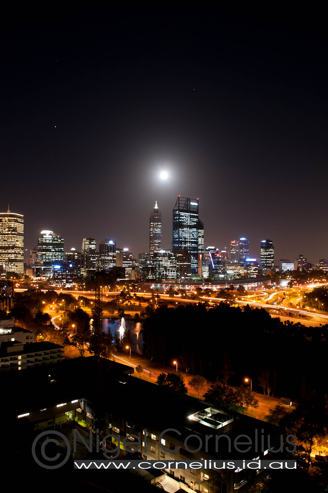 Full Moon and Jupiter over Perth City