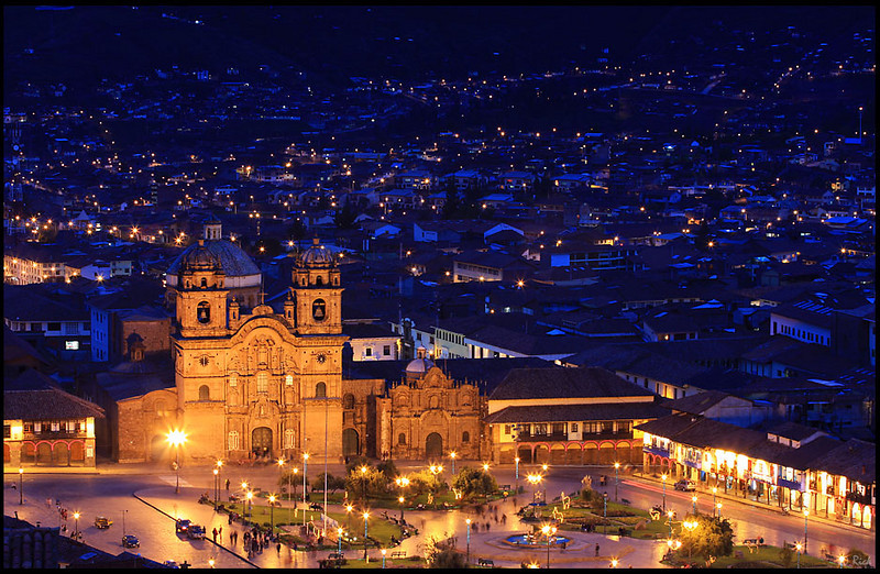 Cathedral and Cusco Downtown in the Evening