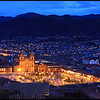 "Cathedral and Cusco Downtown in the Evening<br /> <br /> The Cathedral of Santo Domingo in Cusco, a.k.a. ""Cusco Cathedral"", is set on the Main Plaza (""Plaza de Armas""). Building was completed in 1654, almost a hundred years after construction began. <br /> <br /> The cathedral has UNESCO World Heritage status under the City of Cuzco listing in 1983."