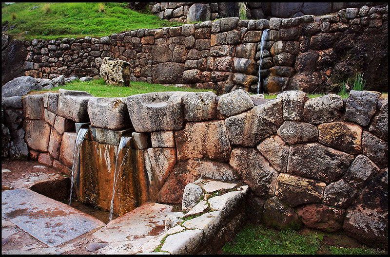 "Tambomachay or Tampumachay (from Quechua: tanpu mach'ay, resting place) is an archaeological site associated with the Inca Empire, located near Cusco, Peru. It is nicknamed ""The Bath of the Inca"".