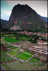 Inca Ruins in Ollantaytambo  Ollantaytambo is a town and an Inca archaeological site in southern Peru some 60 kilometers northwest of the city of Cusco. During the Inca Empire, Ollantaytambo was the royal estate of Emperor Pachacuti who conquered the region, built the town and a ceremonial center.   At the time of the Spanish conquest of Peru it served as a stronghold for Manco Inca Yupanqui, leader of the Inca resistance.