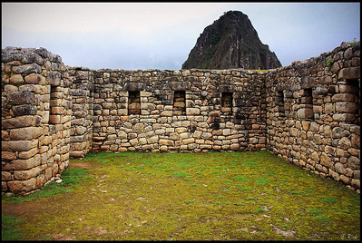 Stone Walls and Huayna Picchu, Group of the Three Doorways, Inca Ruins at Machu Picchu