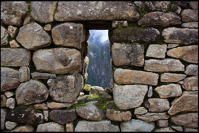 View of Andes Mountains through a Stone Window, Inca Ruins at Machu Picchu