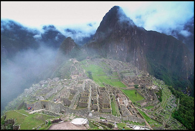 Machu Picchu and Huayna Picchu in Fog, Early Morning