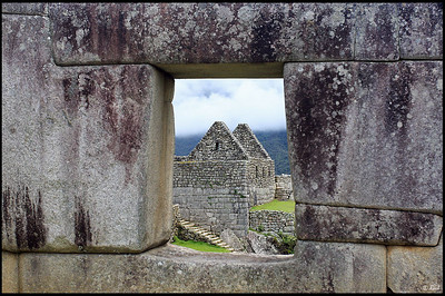 View of Tower and Stairway through Temple of the Three Windows