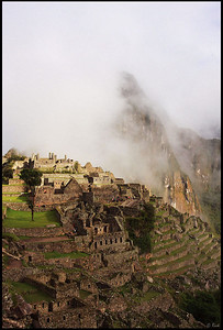 Machu Picchu and Huayna Picchu in Dense Fog, Early Morning