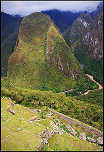 Terraces, Mountains, and Urubamba (Vilcanota) River, view from Machu Picchu