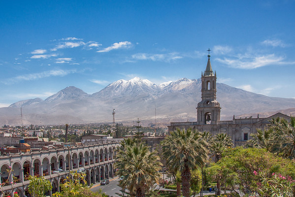 Volcanoes from Arequipa Main Square
