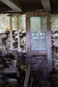 American Flint Glass Workers Union local 1001 office door. Under the depths of Pete's barn