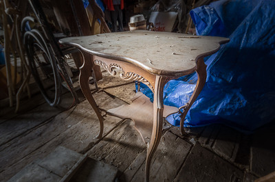 An old victorian era table just hangin' out in Pete's Barn.
