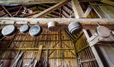 Head crackers, er cast iron pans in Pete's barn.