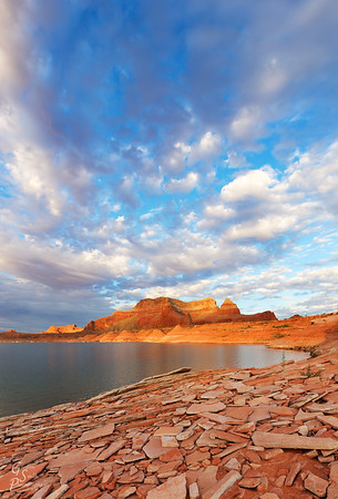 Broken Sandstone Tablets and Beautiful Lake Powell Sunrise