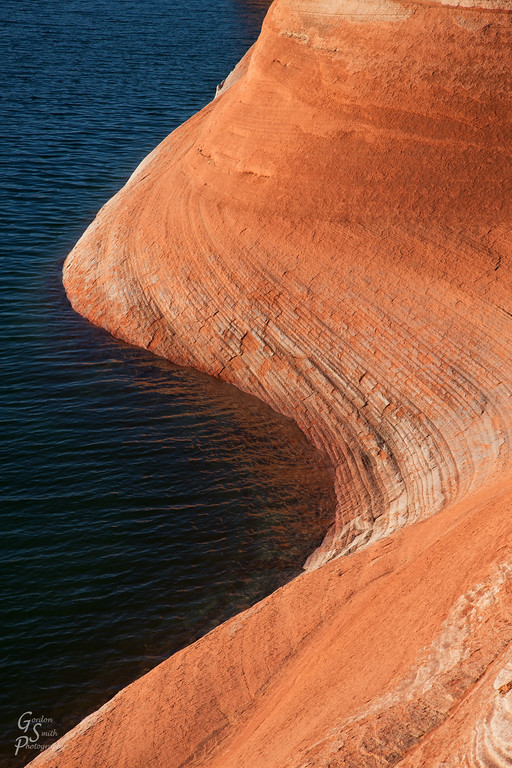 Sandstone curve and water of Lake Powell