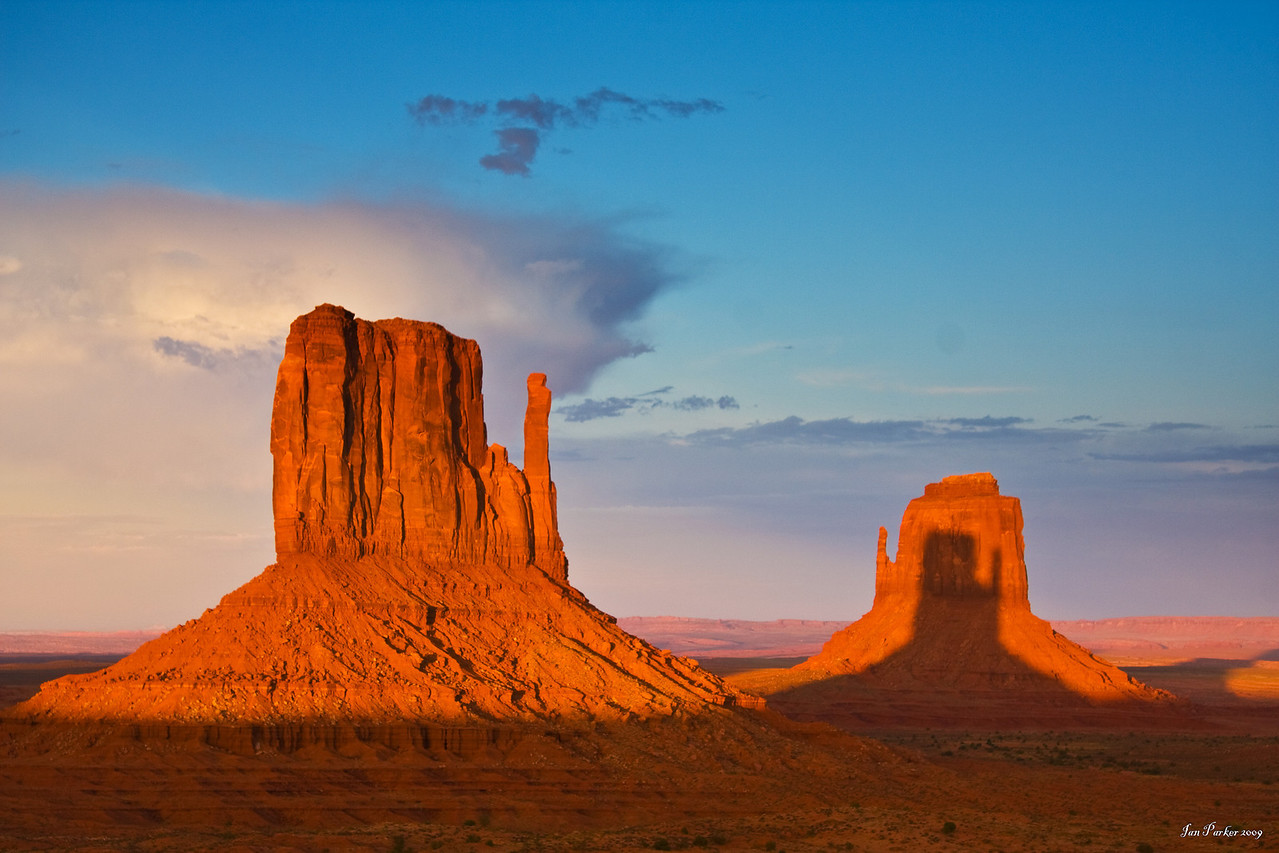 Mittens shadow: Monument Valley, Arizona