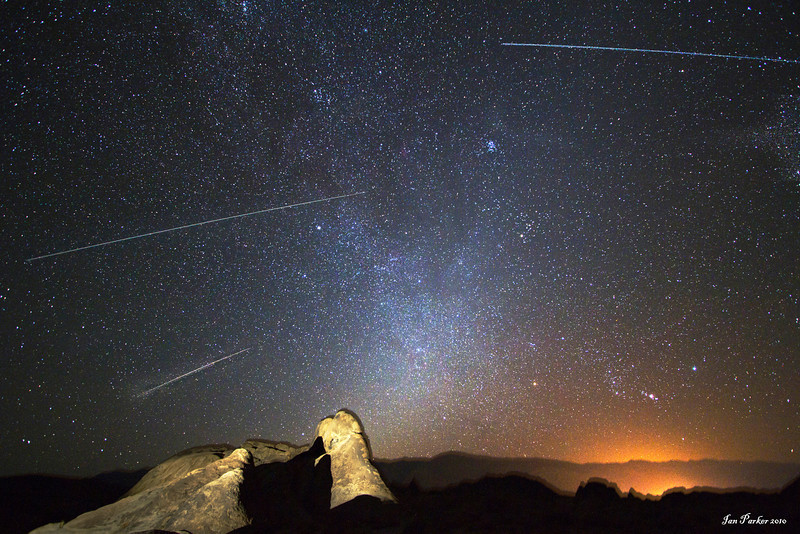 Perseid meteors over Alabama Hills: California