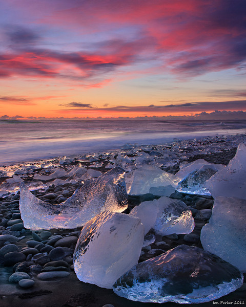 """Jokelbergs"" under Winter sky: Jokulsarlon beach; Iceland"