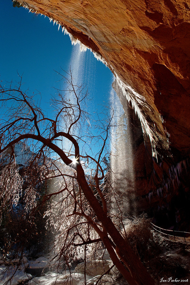 Lower Emerald Falls in Winter: Zion National Park, Utah