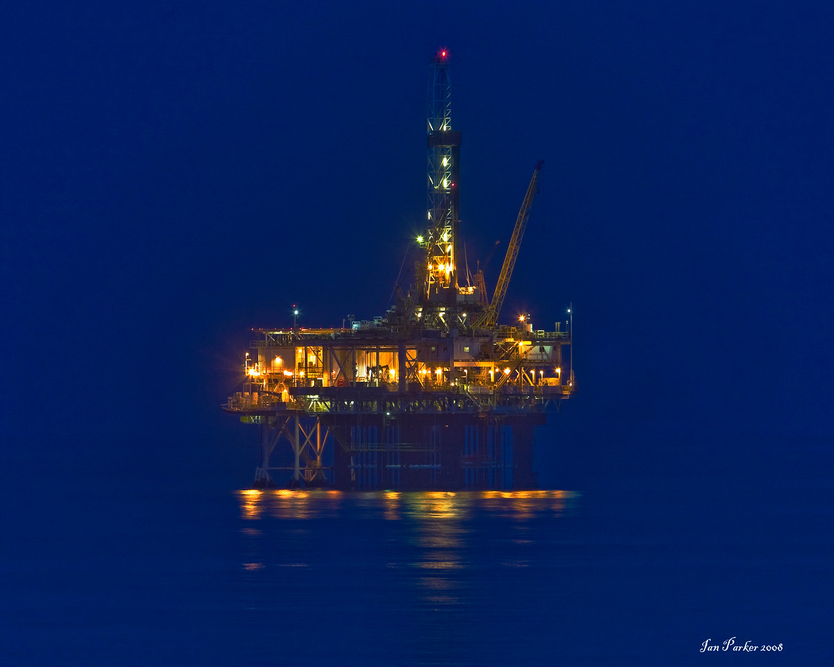 Oil rig in blue: Huntington Beach, California