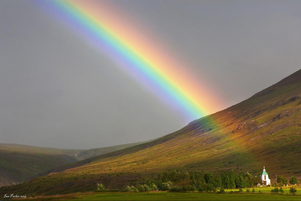 Church at rainbow's end: Iceland