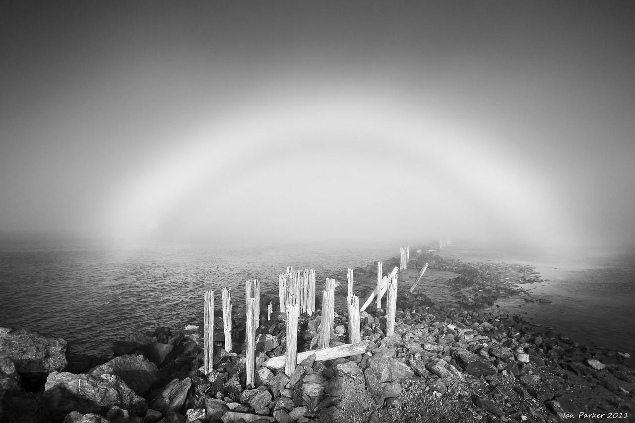 Mistbow: Bandon Harbor, Oregon