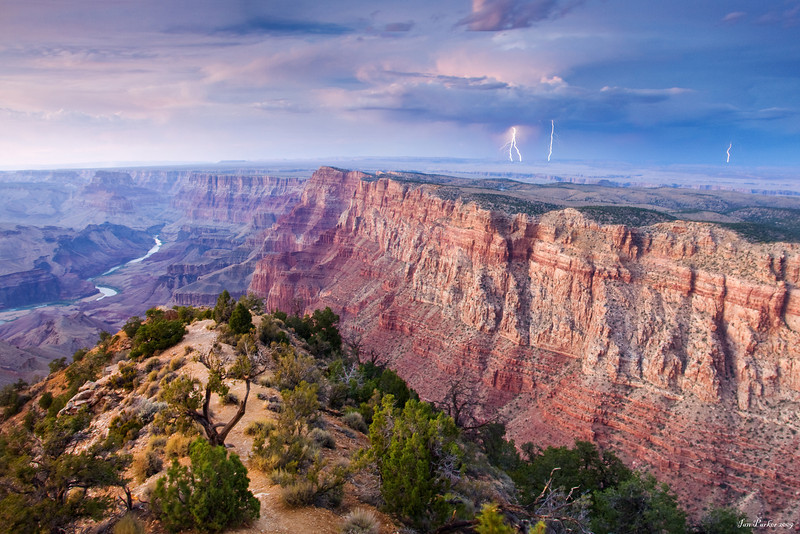 Grand Canyon view with lightning over the Painted Desert: Arizona