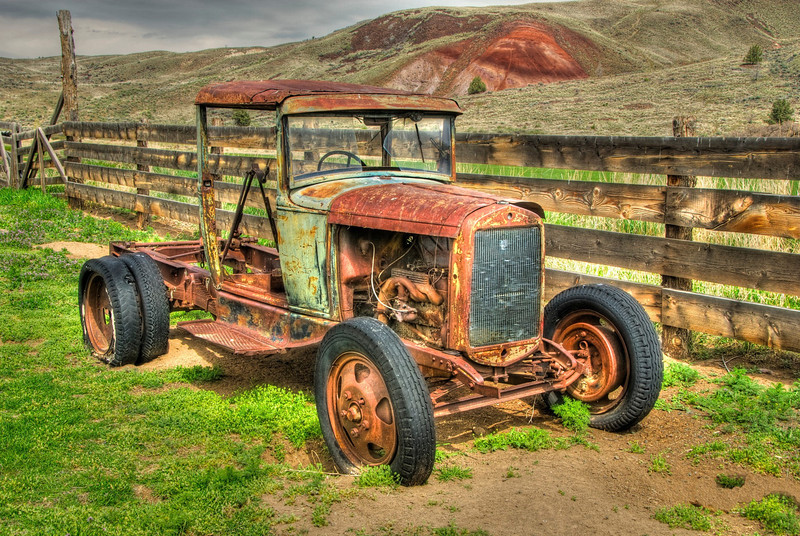 Farm truck at Painted Hills National Monument