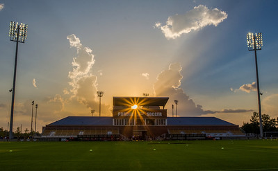 West Lafayette, IN August 30 The sun sets during the Purdue Boilermakers vs. Northern Illinois Huskies women's soccer game at the Purdue Soccer Complex on August 30, 2013.