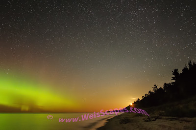 Moon rise and Northern Lights over Lake Superior, Beaver Basin Wilderness area of Pictured Rocks National Lakeshore.