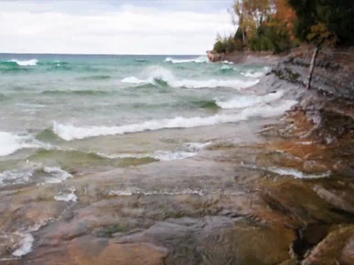 Video of waves crashing onto Miners beach, Pictured Rocks National Lakeshore.