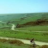 Lonely rider near Solca, northern Bucovina, in 1993. The road leads to Arbore.