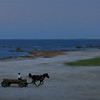 Alone in the twilight, on a blue shore.<br /> sulina, Romania, at the Danube's mouth. 2005